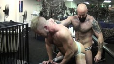 Hunky stud sucks his lover's big cock and then gets fucked hard