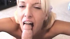 Naughty blonde tart goes down on her teacher's pulsating cock