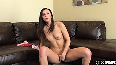 Charming feminine Lina Cole strips naked and spreads her legs