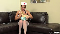 Ava Devine is a nasty nurse and likes to get naked on the couch