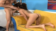 Sultry brunette with big round boobs Daisy Marie goes crazy for a dick