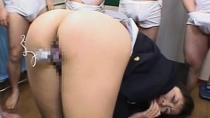 Japanese student gets a lot of cum to drink and cover her face