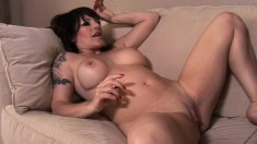 Busty June Summers gets her trimmed bush licked by her lesbian lover