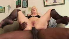 Ravishing blonde with big boobs Anita has a black stud banging her ass