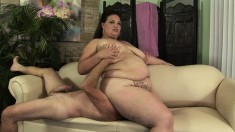 Chubby and lustful Angelina Largo has a wet cunt longing for hard meat