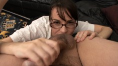 Horny secretary in lingerie welcomes her boss's dick up her tight ass