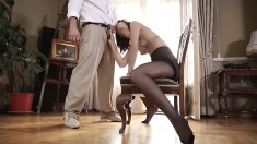 Sensuous Young Girl Rips Her Black Pantyhose And Enjoys A Deep Fucking