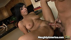 She gets licked and then spreads wide to take his pounding cock