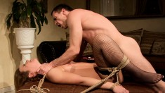 Naughty blonde wants to get tied up and spanked by a hung stud