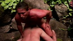 Lustful dude gives a blowjob and begs for a deep anal fucking outside
