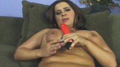 Chubby brunette with big tits toys, then blows and fucks a black dick