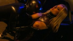 Big Breasted Blonde Nympho In Latex Brianna Banks Engages In Anal Sex