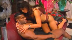 Exquisite Lana Sands gives her man head and rides on his snake