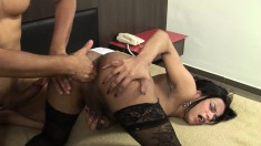 Lustful tranny in stockings Jaqueline Garcia is addicted to anal sex