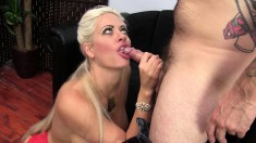 Stacked blonde Holly Heart has a tattooed guy roughly banging her cunt