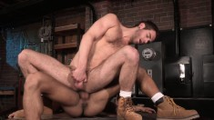 Wild gay stud gets his fiery ass tongued and pounded by his partner