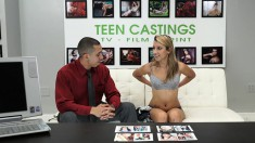 Delightful blonde Sophia Grace is introduced to rough sex in casting