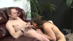 Two Kinky Guys Play Out Their Ballbusting Fantasy With A Stacked Girl