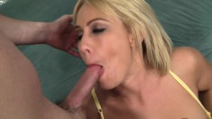 Bodacious Blonde Cougar In Stockings Knows Her Way Around A Big Dick