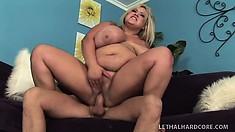 Kacey's huge boobs and big booty shake and jiggle as she rides that big hard cock