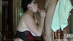 Chubby brunette milf with huge boobs Stephanie sucks Gerhard's throbbing cock
