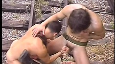 Army guy gets down to blow a load on his two commanding officers