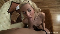 Petite blonde schoolgirl Monica gets her tight anal hole drilled deep from behind