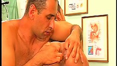 In the doctor's office, a hot Latino blows a big dick and takes it up his ass