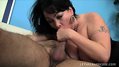 Busty old lady Betty Paige gets her pussy banged deep and her boobs covered with cum
