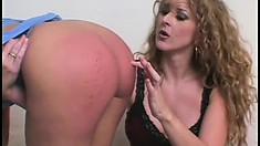 Strict mistress in black underwear punishes her sexy guilty babe