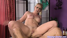 Busty blonde loves sucking and sitting on some big cock tonight