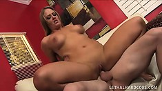 Buxom blonde milf loves to have a young stud filling her needy cunt with his dick