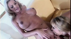 Skinny blonde bitch gets her girlfriend naked to eat her out