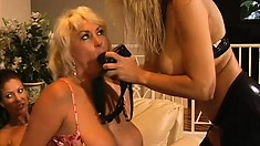 Wild mature lady's party turns into some dick hardening action with their pussies