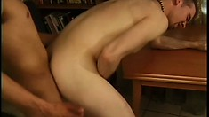 Latino and his white gay friend in some exciting meat eating and ass hammering