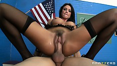 She's eager to jump on top of him and enjoy that cock to the fullest