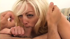 Insatiable blonde cougar has two young studs hammering her tight pussy