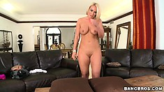 Chunky blonde babe bends over to show her phat ass to the camera
