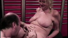Blonde MILF gives her man a nice blowjob, then bends over for a fuck