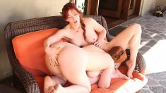 Two adorable redhead lesbians relish the taste of each other's pussies