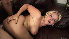Blonde MILFs big titties bounce as she rides him like a cowgirl
