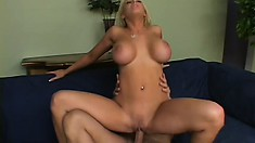 Busty blonde MILF gets spanked and roughed up by a young stud