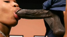 Beautiful ebony girl with a big booty blows and fucks a huge black rod