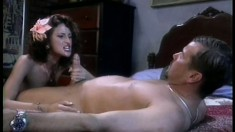 Sensual brunette with tiny tits Lola sucks and fucks a dick on the bed