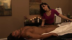 Hot masseuse gives him a rubdown and then sucks his cock down