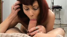 Amazing cougar with chubby ass fucks two fascinating stallions