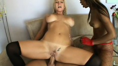 Busty young blonde gets into a steamy threesome with two guys