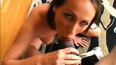 Seductive brunette with big tits and a sublime ass enjoys a huge black rod POV style
