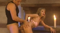 Enticing blonde with small tits has her man fucking her tight anal hole