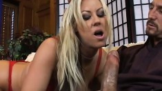 Wild blonde cougar Carolyn Reese is in need of a hard cock in her pussy